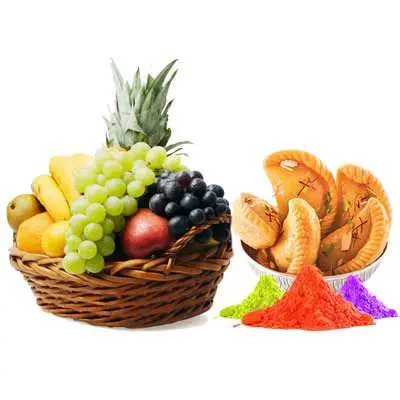 Mix Fruits with Gulal & Gujiya