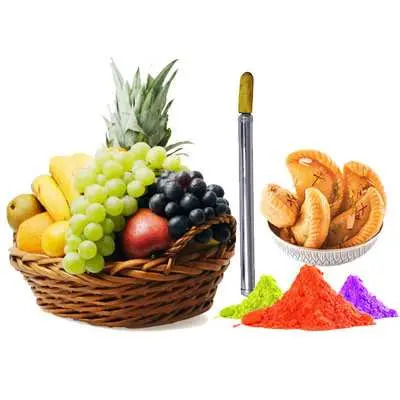 Mix Fruits with Gulal, Pichkari & Gujiya
