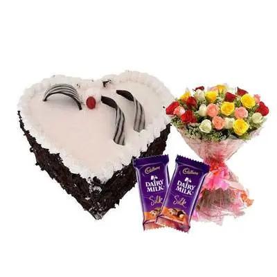 Eggless Heart Black Forest Cake, Mix Roses & Silk