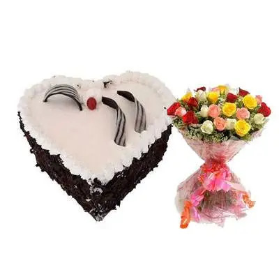 Eggless Heart Black Forest Cake, Mix Roses