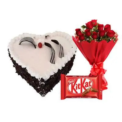 Eggless Heart Black Forest Cake, Red Roses & Kitkat