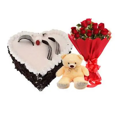 Eggless Heart Black Forest Cake, Red Roses & Teddy