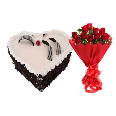 Eggless Heart Black Forest Cake & Red Roses