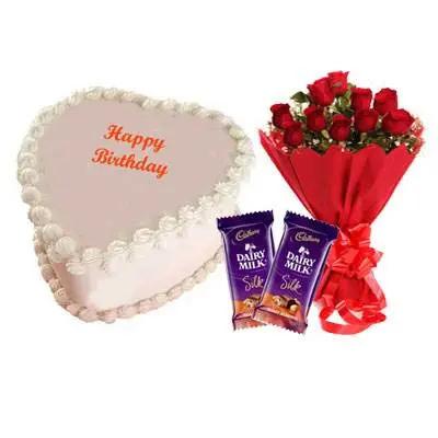 Eggless Heart Butterscotch Cake, Red Rose & Silk