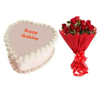 Eggless Heart Butterscotch Cake & Red Roses