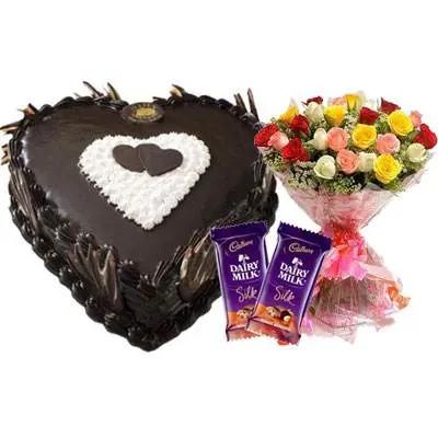 Eggless Heart Chocolate Cake, Mix Roses & Silk