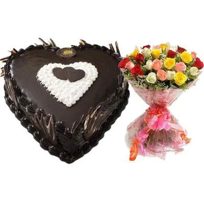 Eggless Heart Chocolate Cake & Mix Roses