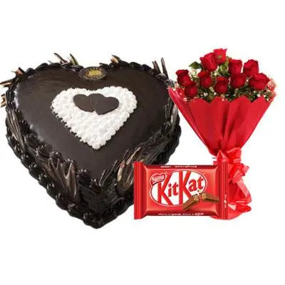Eggless Heart Chocolate Cake, Red Roses & Kitkat