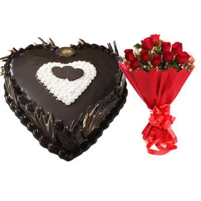 Eggless Heart Chocolate Cake & Red Roses