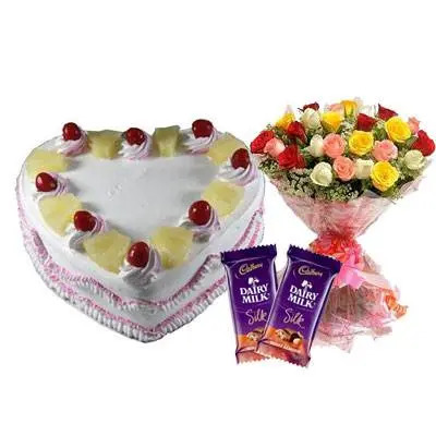 Eggless Heart Pineapple Cake, Mix Roses & Silk
