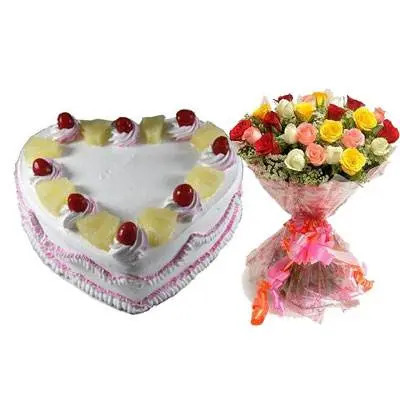 Eggless Heart Pineapple Cake & Mix Roses
