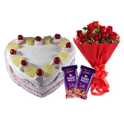 Eggless Heart Pineapple Cake, Red Roses & Silk