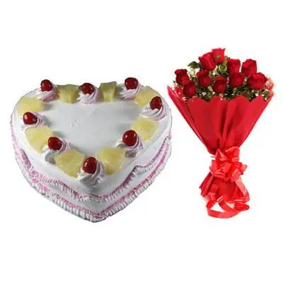 Eggless Heart Pineapple Cake & Red Roses