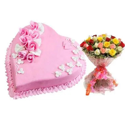 Eggless Heart Strawberry Cake & Mix Roses