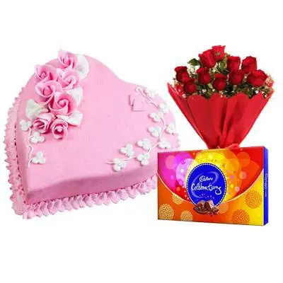 Eggless Heart Strawberry Cake & Red Roses & Celebration