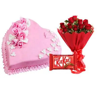 Eggless Heart Strawberry Cake, Red Roses & Kitkat