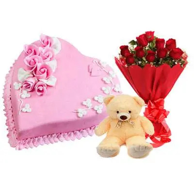 Eggless Heart Strawberry Cake, Red Roses & Teddy