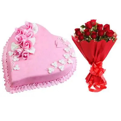 Eggless Heart Strawberry Cake & Red Roses