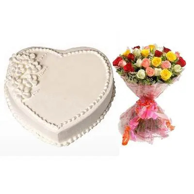 Eggless Heart Vanilla Cake & Mix Roses