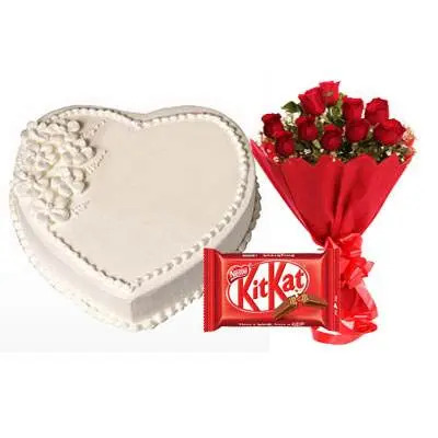 Eggless Heart Vanilla Cake, Red Roses & Kitkat