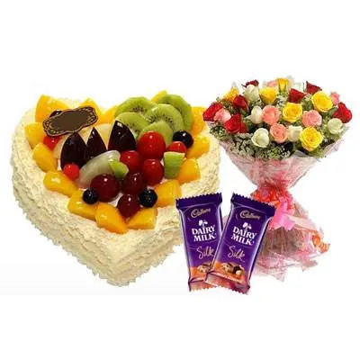 Fresh Fruits Heart Cake, Mix Roses & Silk