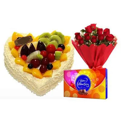 Fresh Fruits Heart Cake, Red Rose & Celebration
