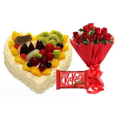Fresh Fruits Heart Cake, Red Roses & Kitkat