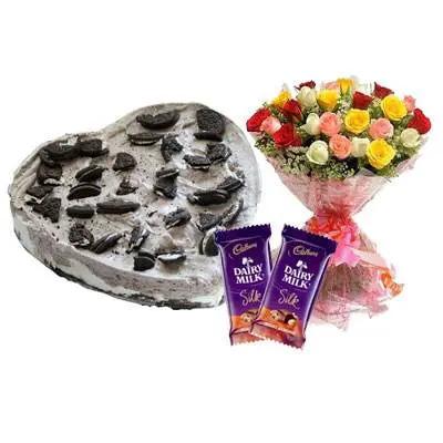 Heart Oreo Cake, Mix Roses & Silk