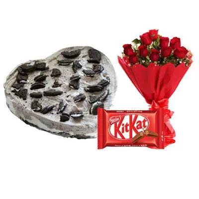 Heart Oreo Cake, Red Roses & Kitkat