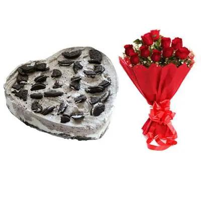 Heart Oreo Cake & Red Roses