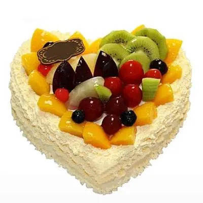 Fresh Fruits Heart Shape Cake