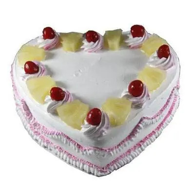 Eggless Heart Pineapple Cake
