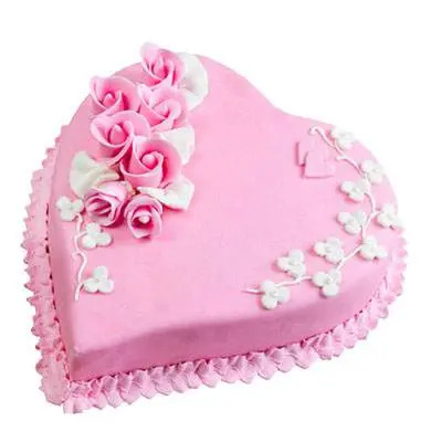 Eggless Heart Strawberry Cake
