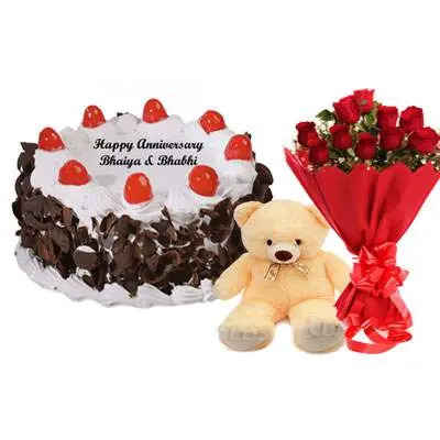 Black Forest Cake, Bouquet & Teddy