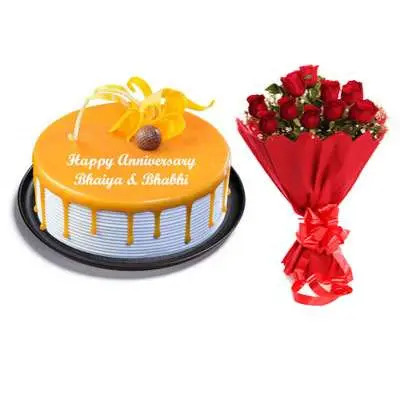 Butterscotch Cake & Bouquet