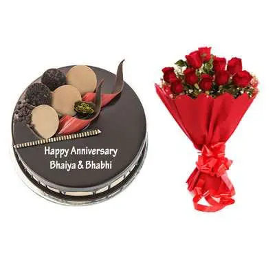 Chocolate Cake & Bouquet