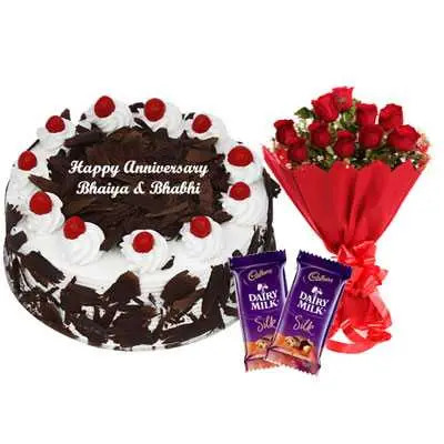 Eggless Black Forest Cake, Bouquet & Silk