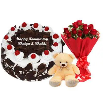 Eggless Black Forest Cake, Bouquet & Teddy