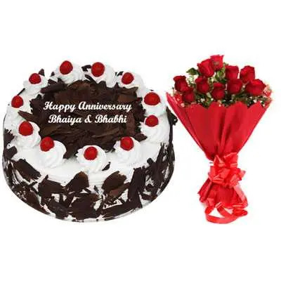 Eggless Black Forest Cake & Bouquet