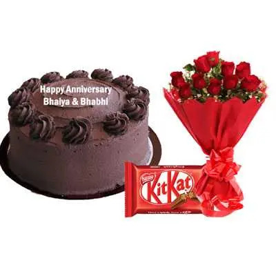 Eggless Chocolate Cake, Bouquet & Kitkat