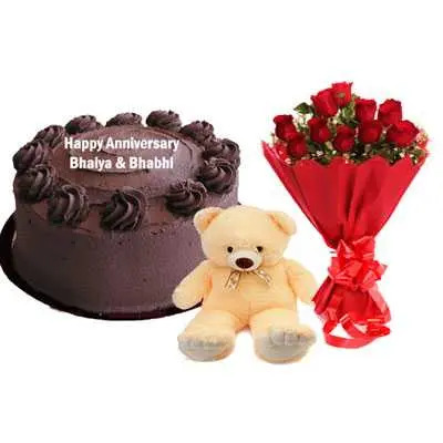 Eggless Chocolate Cake, Bouquet & Teddy