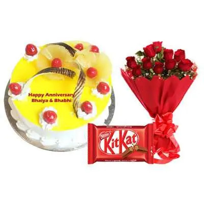 Eggless Pineapple Cake, Bouquet & Kitkat