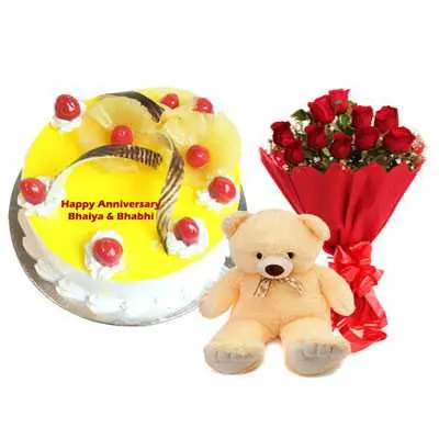 Eggless Pineapple Cake, Bouquet & Teddy