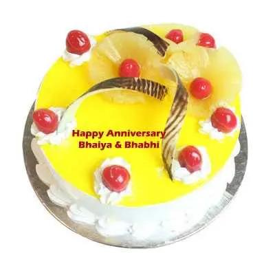 Anniversary Eggless Pineapple Cake