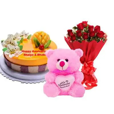 Fruit Cake, Bouquet & Teddy