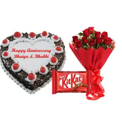 Heart Black Forest Cake, Bouquet & Kitkat