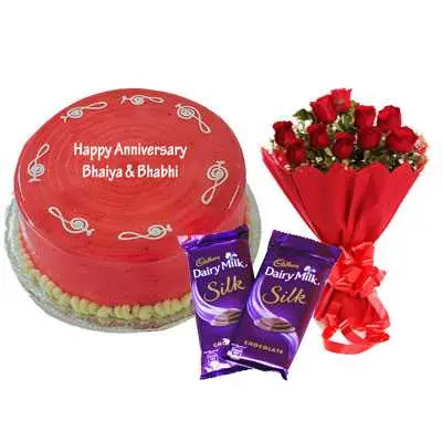 Strawberry Cake, Bouquet & Silk