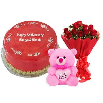 Strawberry Cake, Bouquet & Teddy