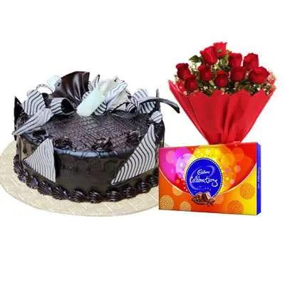 Chocolate Cream Cake, Bouquet & Cadbury
