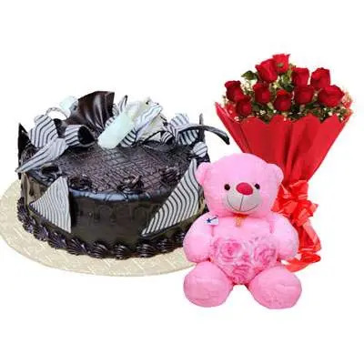 Chocolate Cream Cake, Bouquet & Teddy